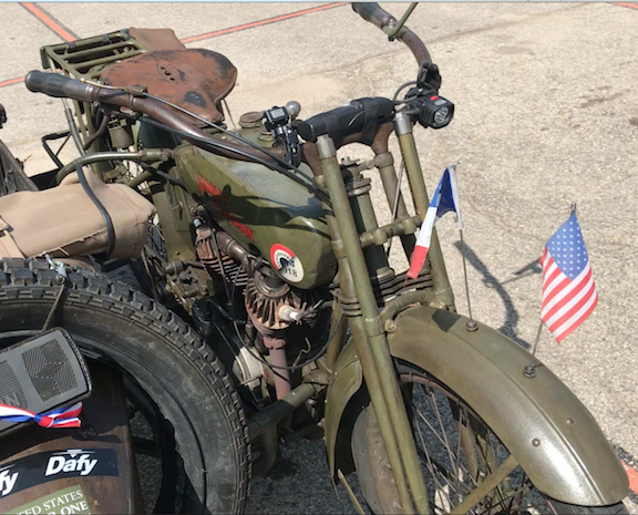 Clse-up of flags WW1 bike