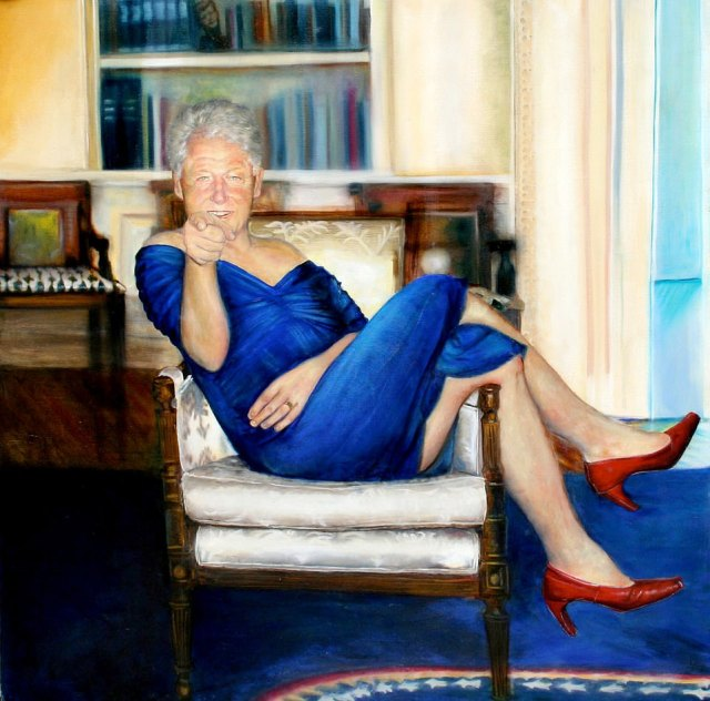 Bill Clinton in a blue dress