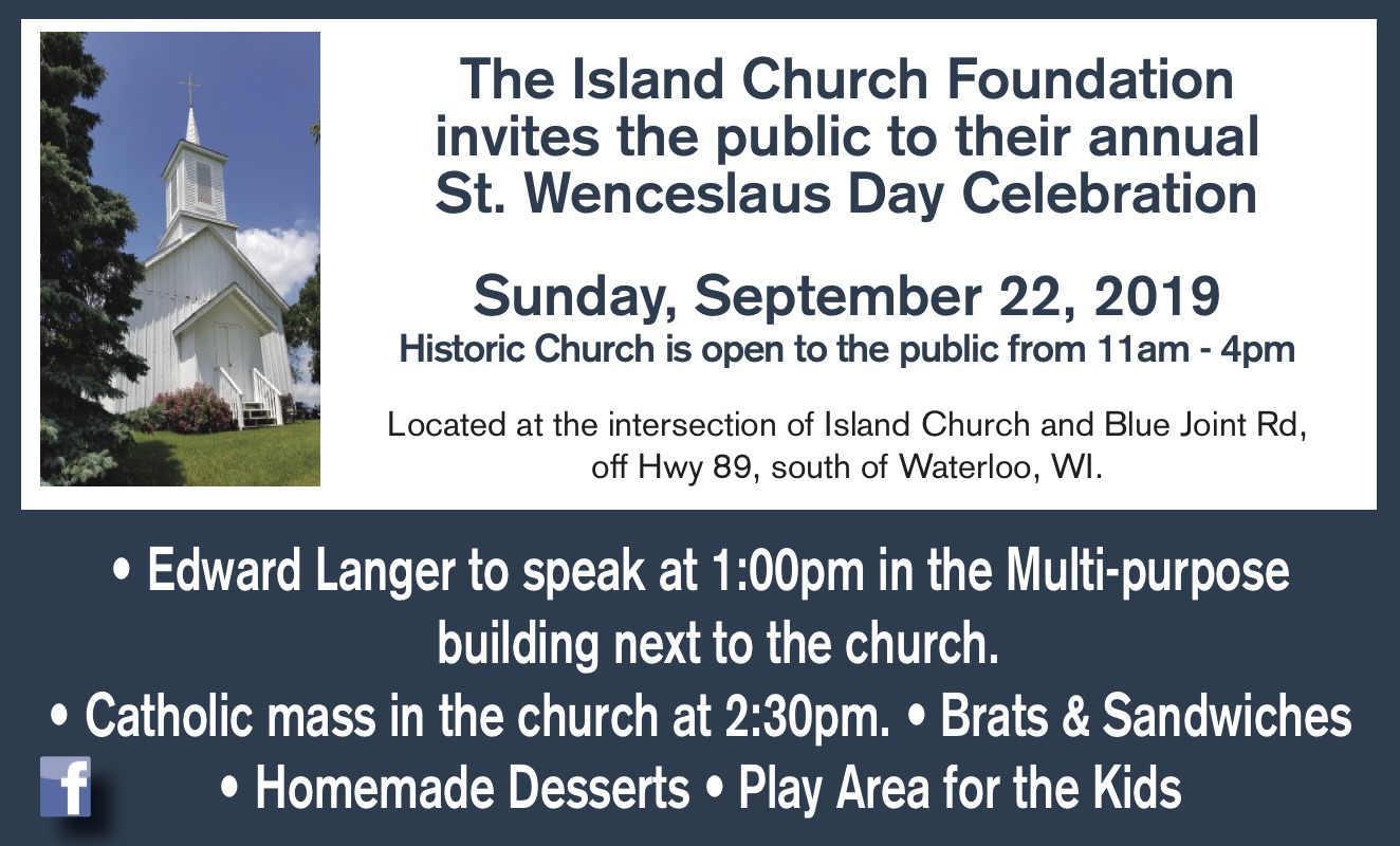 Visit the historic Island Church Sunday Sept 22 in Waterloo