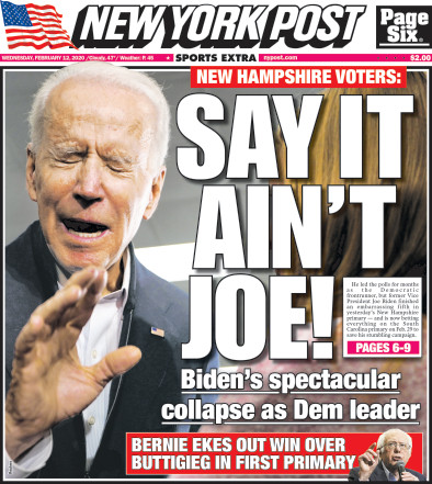 Joe Biden NY Post headline
