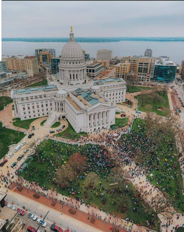 Aerial shot May 24 protest
